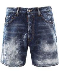 DSquared² Distressed Bermuda Denim Shorts - Blue