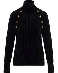 Balmain Buttoned High Neck Jumper - Black