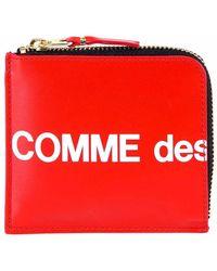 COMME DES GARÇONS PLAY Contrasting Zip Around Logo Wallet - Red