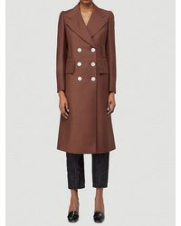 Prada Double-breasted Wool Coat - Brown