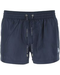 Dolce & Gabbana Logo Embroidered Swim Shorts - Blue