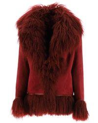Saks Potts Bon Shearling Coat With Fur - Red