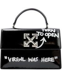 Off-White c/o Virgil Abloh Jitney 1.4 Leather Top Handle Bag - Black