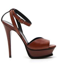 464388846220 Saint Laurent Classic Tribute 75 Leather Plateau Sandals in Black - Lyst