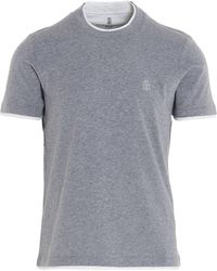 Brunello Cucinelli Logo Embroidered T-shirt - Grey