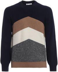 Brunello Cucinelli - Chevron Pattern Crew Neck Sweater - Lyst