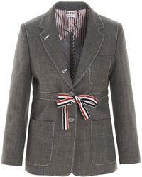 Thom Browne Tie Waist Blazer - Grey
