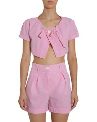 Boutique Moschino Striped Bow Detail Cropped Jacket - Pink
