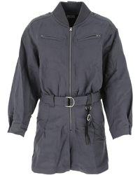 DIESEL Belted Long-sleeve Playsuit - Blue
