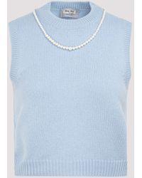Miu Miu Pearl Embellished Knitted Vest - Blue