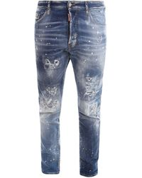 DSquared² Ripped-detail Skinny Jeans - Blue