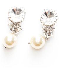 Miu Miu Crystal And Pearl Ear Clips - Metallic