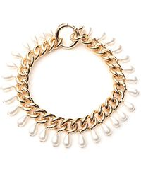 Rosantica Pearl-embellished Chain-link Necklace - Metallic