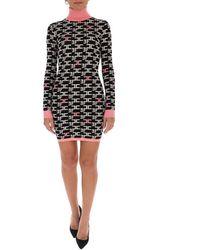 Elisabetta Franchi Logo Turtleneck Mini Dress - Black
