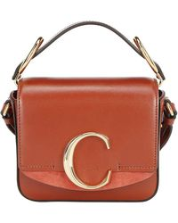 Chloé C Ring Top Handle Crossbody Bag - Brown