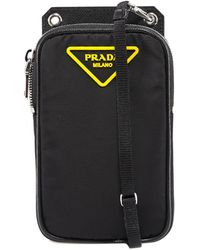 Prada Logo Plaque Phone Crossbody Bag - Black