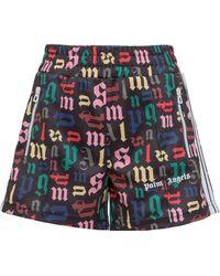 Palm Angels Allover Logo Shorts - Multicolour