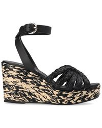 Prada Braided Wedge Sandals - Black