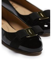 Ferragamo Varina Patent Flats - Black