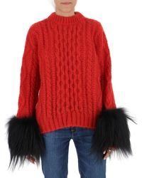 Prada Contrast Cuff Cable Knit Sweatshirt - Red