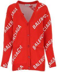 Balenciaga All Over Logo Cardigan - Red