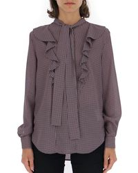 Mulberry Houndstooth Print Jabot Blouse - Multicolour