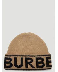 Burberry Logo Intarsia Beanie - Natural