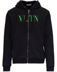 Valentino Hooded Sweatshirt In Jersey With Green Logo - Black