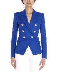 4263d4a81039 Balmain Double-breasted Wool Blazer in Blue - Lyst