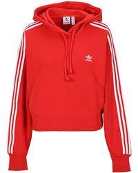 adidas Originals Adicolor Classic Crop Hoodie - Red
