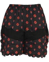 Undercover Roses Print Panelled Shorts - Black