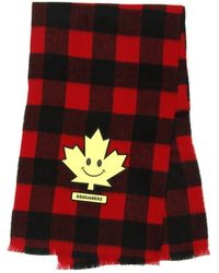 DSquared² Scarf With Maple Leaf Patch - Red