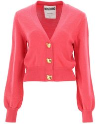 Moschino Cardigan With Teddy Bear Buttons - Pink