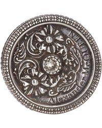 Alexander McQueen Silver Medallion Ring - Metallic