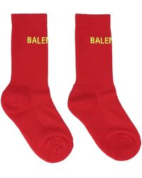Balenciaga Logo Intarsia Socks - Red