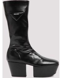 Prada Platform Mid-calf Boots - Black