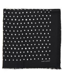 Saint Laurent Polka Dot Printed Fin Knit Scarf - Black