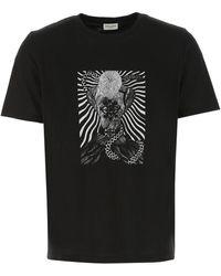 Saint Laurent Graphic Print Crewneck T-shirt - Black