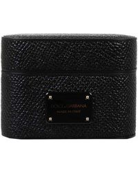 Dolce & Gabbana Logo Plaque Embossed Airpods Pro Case - Black