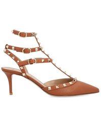 Valentino - Garavani Rockstud Ankle Strap Pointed Toe Pumps - Lyst