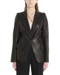 Ann Demeulemeester Single-breasted Leather Blazer - Black