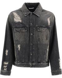 Valentino Destroyed Denim In Jacket - Black