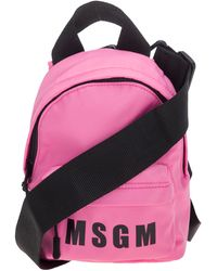 MSGM Logo Printed Small Backpack - Pink