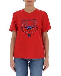 MCM Sequined Logo Crewneck T-shirt - Red