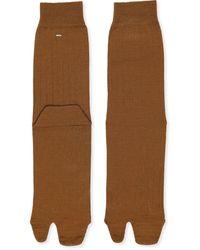 Maison Margiela Tabi Toe Ribbed Socks - Brown