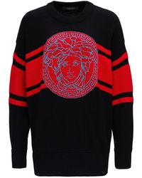 Versace Wool Jumper With Logo - Red