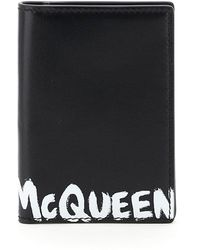 Alexander McQueen Graffiti Logo Bi-fold Card Holder Os Leather - Black