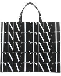 Valentino All Over Vltn Print Tote Bag - Black