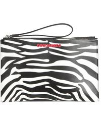 DSquared² Leather Pouch With Zebra Print - Multicolour