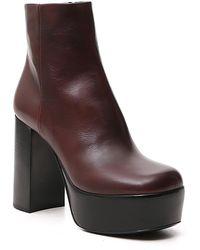 Miu Miu Platform Ankle Boots - Brown